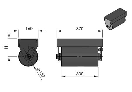 rolka do kontenera fi 159 ze wspornikiem
