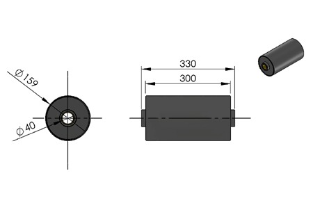 rolka do kontenera fi 159 z tulejami z brązu