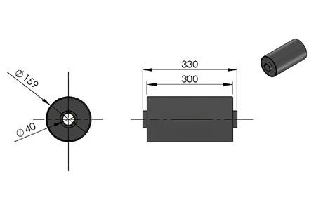 rolka do kontenera fi 159 z tulejami poliamidowymi