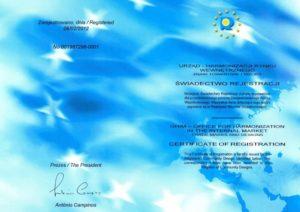 Kontener EKO-4 świadectwo rejestracji