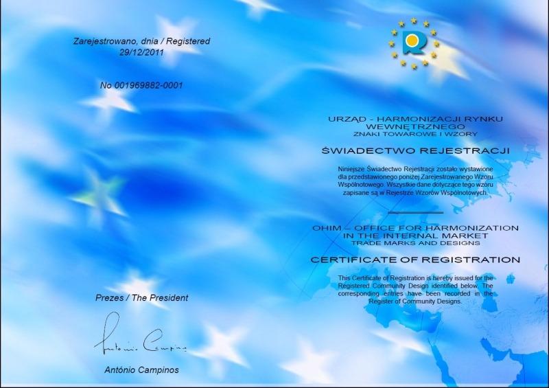 Kontener EKO-1 33 m³ patent - Świadectwo rejestracji znaku towarowego i wzoru