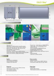 Kontener EKO-1 38 m³ Hardox specyfikacja